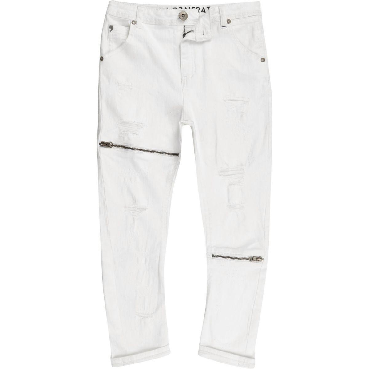 Kids white RI Studio Tony ripped slouch jeans