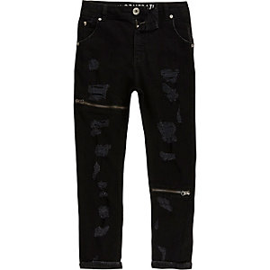 Kids black RI Studio Tony ripped slouch jeans
