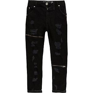 RI Studio - Tony - Zwarte ripped ruimvallende jeans voor kinderen
