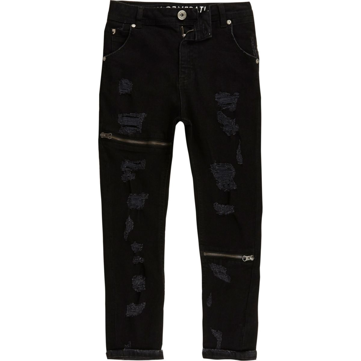 Kids black RI Studio Tony ripped slouch jeans