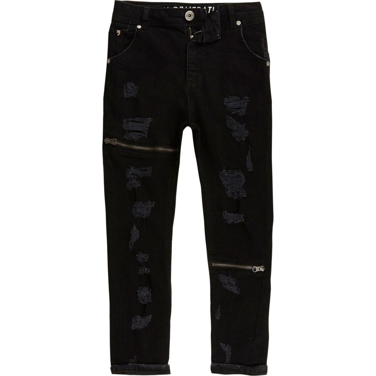 ri studio tony jean large noir d chir pour enfant denim promo fille. Black Bedroom Furniture Sets. Home Design Ideas