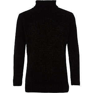 Boys black roll neck chenille sweater