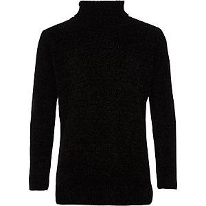 Pull noir en maille chenille à col roulé pour garçon