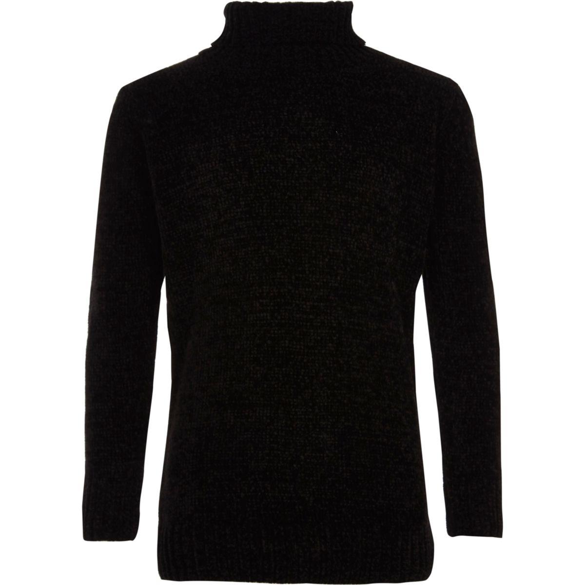 Boys black roll neck chenille jumper