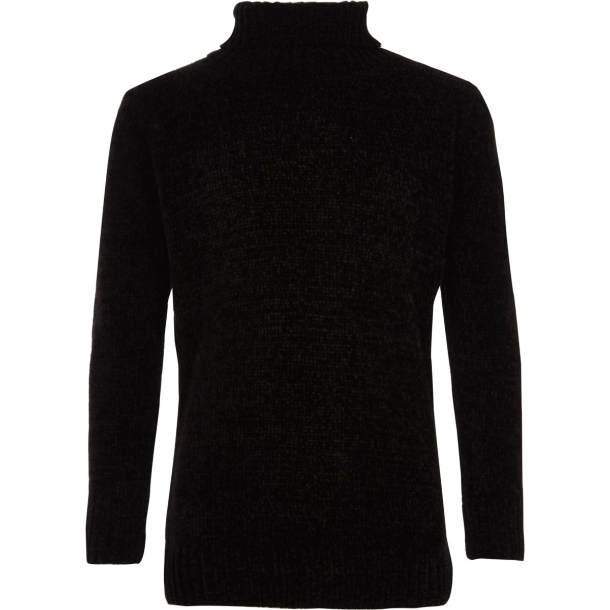 Boys black roll neck chenille sweater