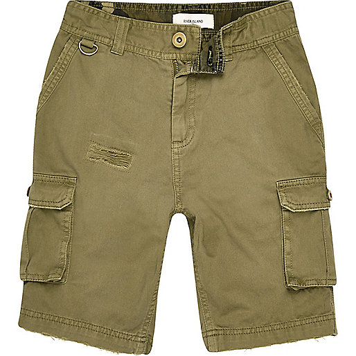 Boys khaki cargo shorts