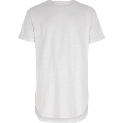 Boys White Short Sleeve Curve Hem T Shirt by River Island
