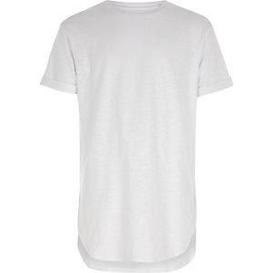 Boys white short sleeve curve hem T-shirt