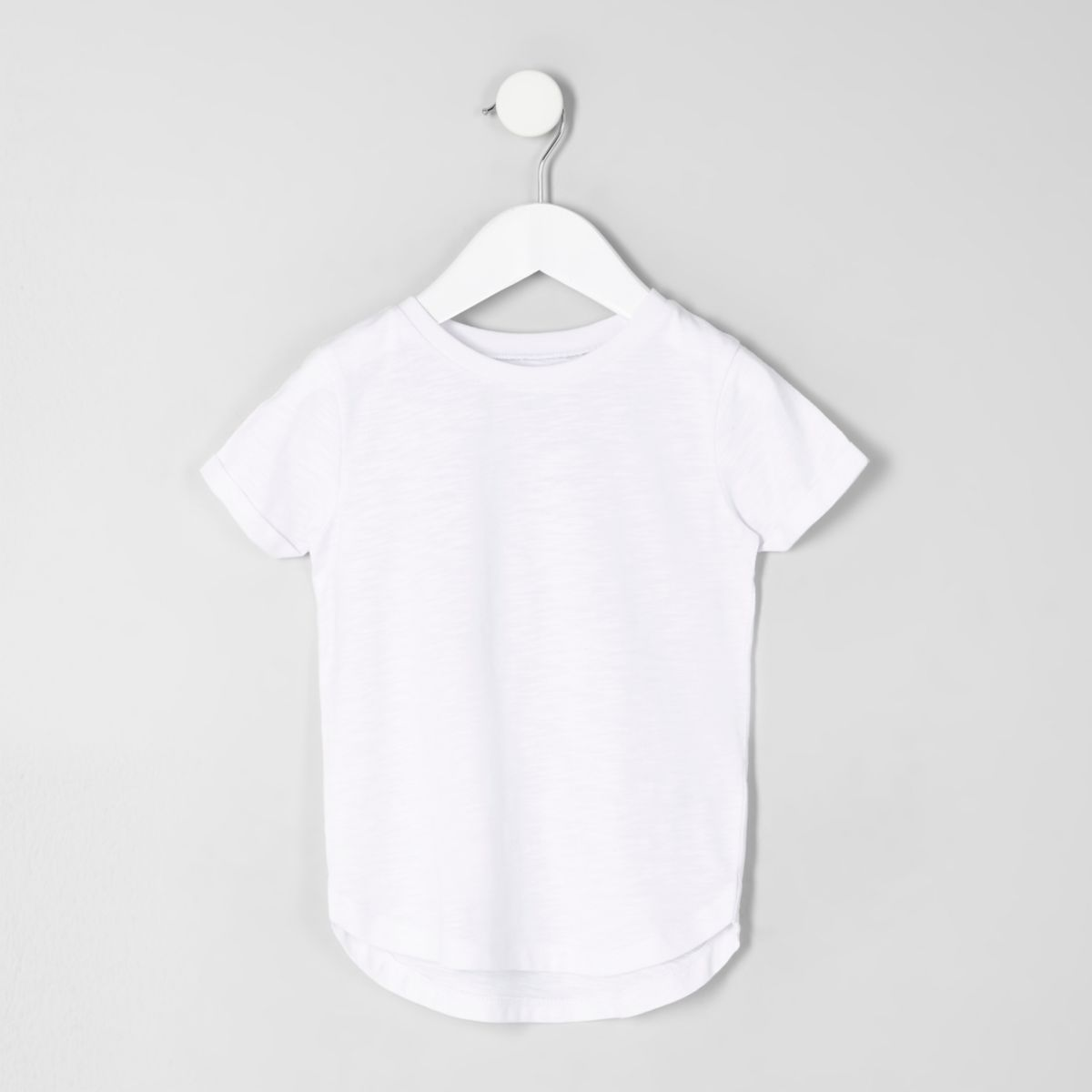 Mini boys white slub curved hem T-shirt