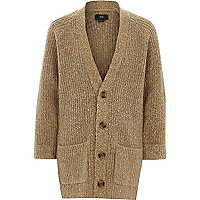 Boys light brown longline knit cardigan