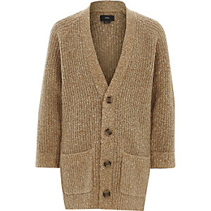 Cardigan long en tricot marron clair garçon