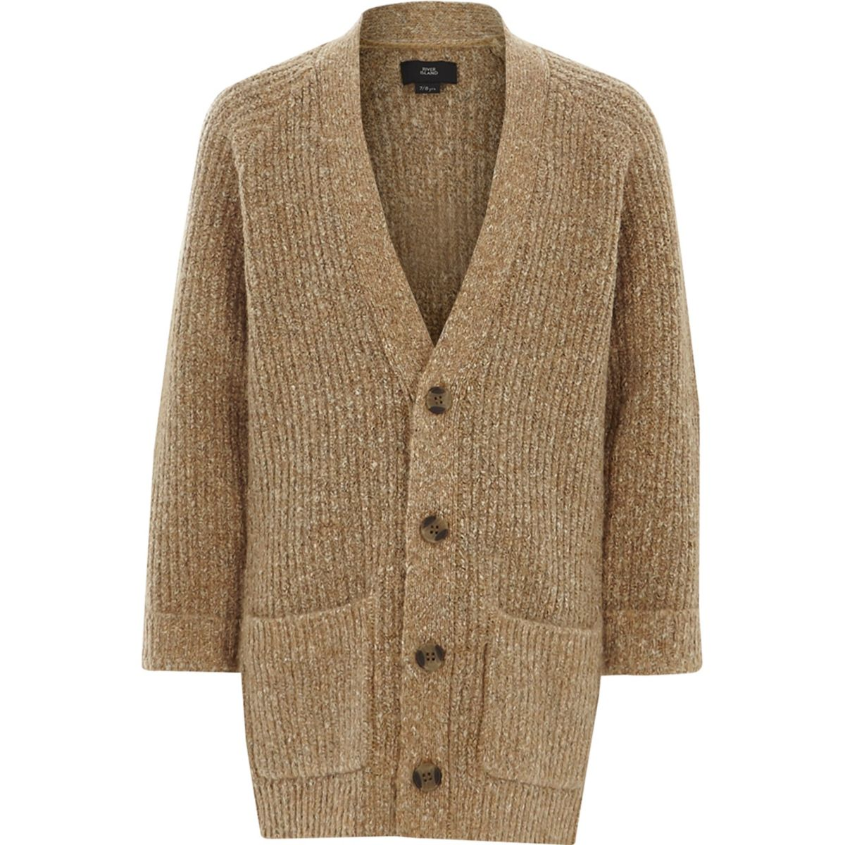 Boys light brown longline knit cardigan