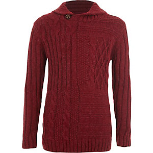 Boys red mixed cable knit jumper