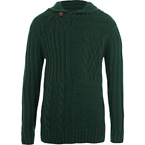 Boys green mixed cable knit jumper
