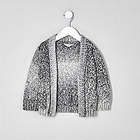 Mini boys grey ombre knit cardigan