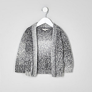 Mini boys grey ombre knit cardigan