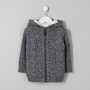 Mini boys grey fleece lined cable knit hoodie
