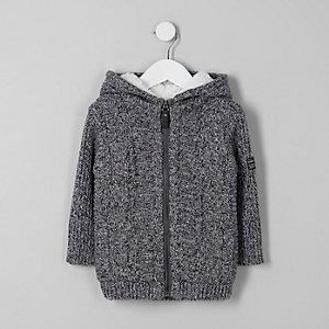 Sweat à capuche gris en maille torsadée à doublure peau de mouton mini garçon