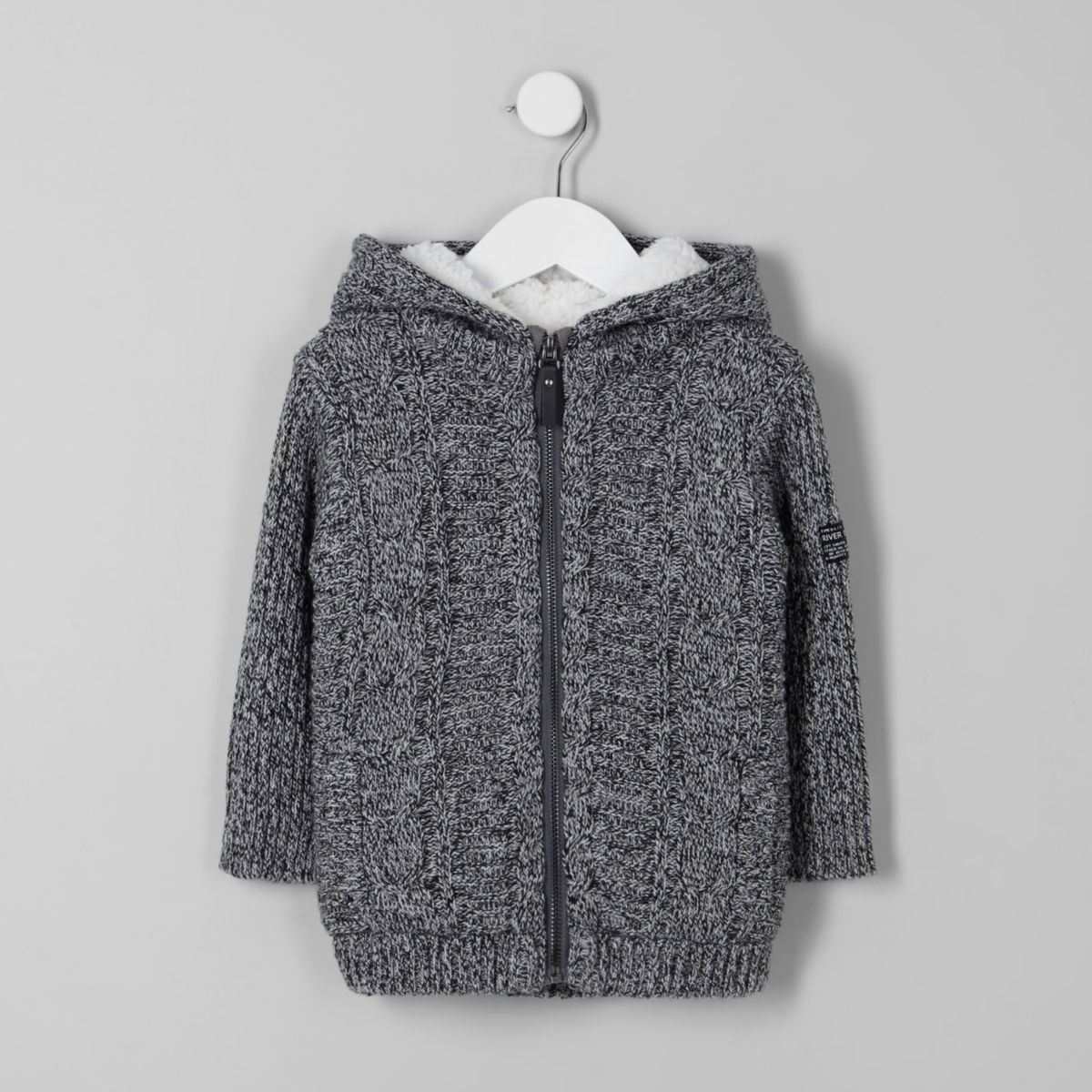 Mini boys grey borg lined cable knit hoodie