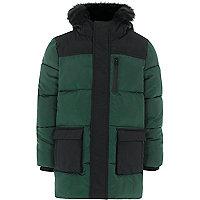 Boys green block hooded puffer coat