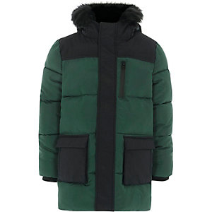 Boys green block hooded puffer coat