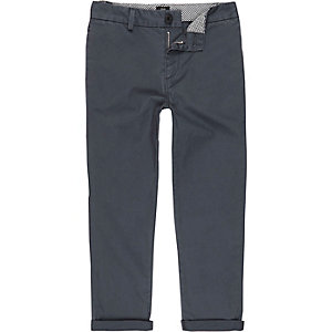 Boys blue slim fit chino trousers
