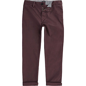 Boys burgundy chino trousers