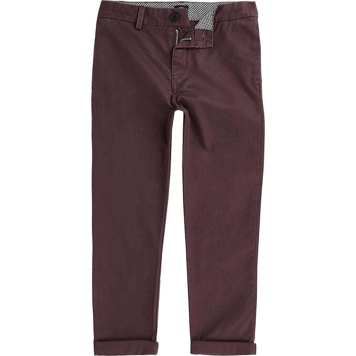 Boys burgundy chino trousers