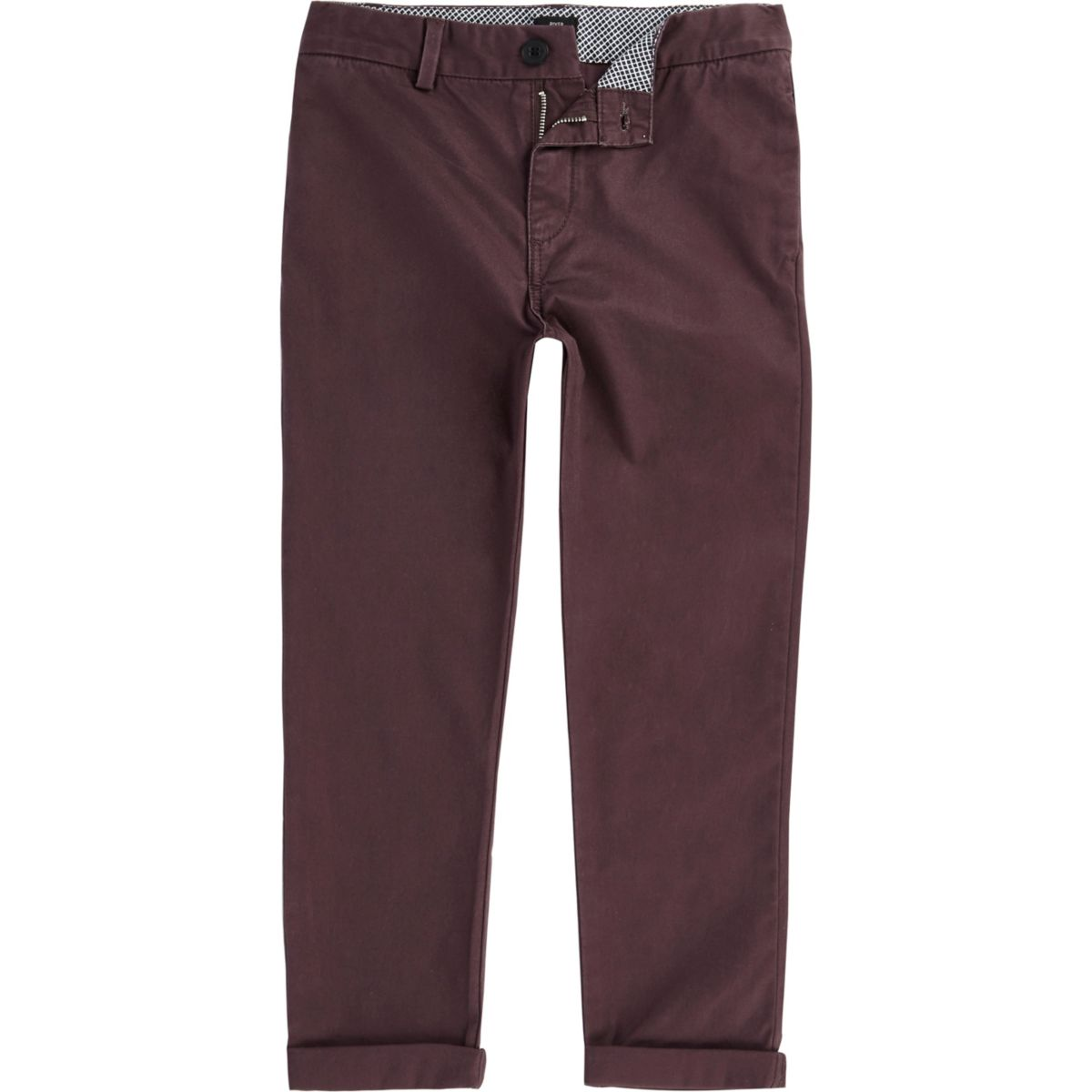 Boys burgundy chino pants