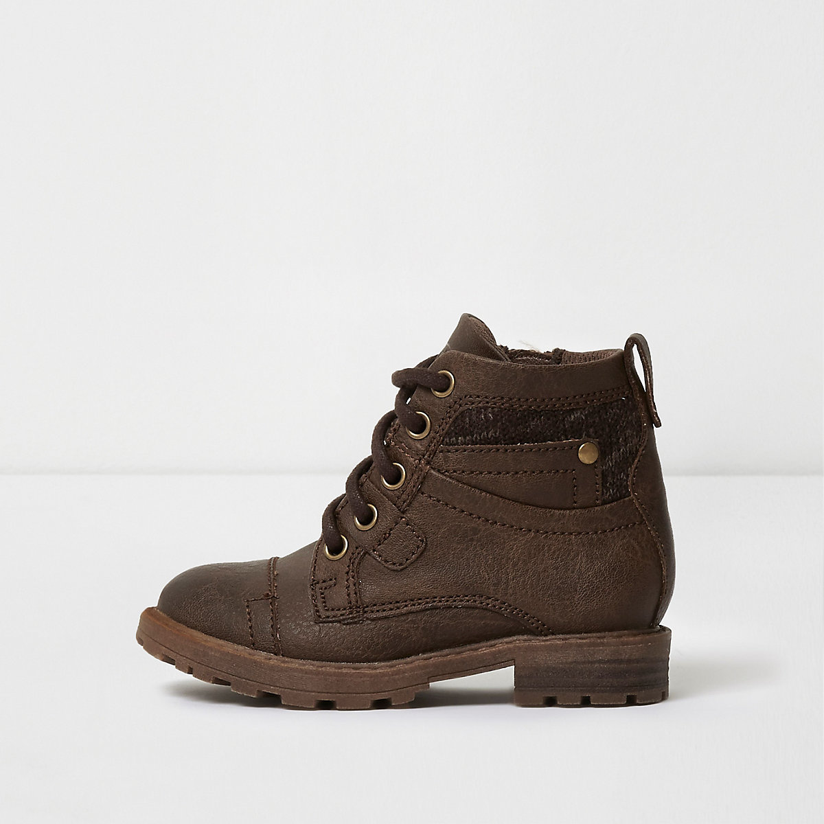Mini boys brown lace-up utility boots