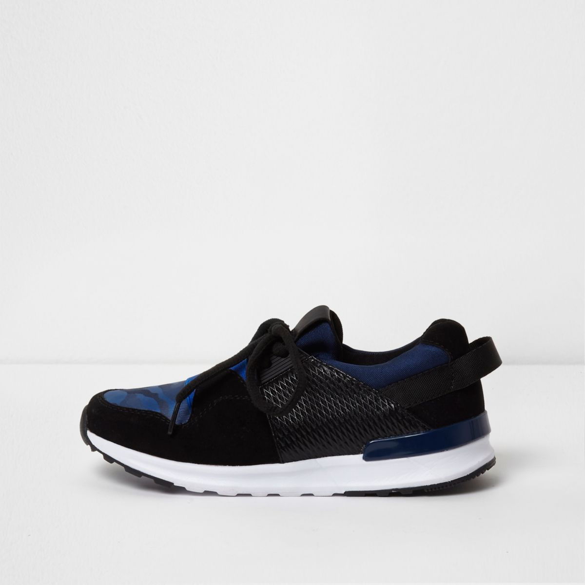Boys blue camo insert runner sneakers