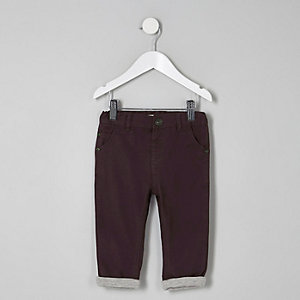 Mini boys plum slim fit chino trousers