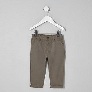 Mini boys grey slim fit chino trousers