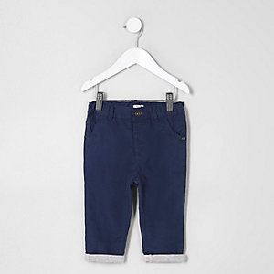 Mini boys navy lined chino trousers