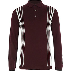 Boys burgundy stripe long sleeve polo shirt