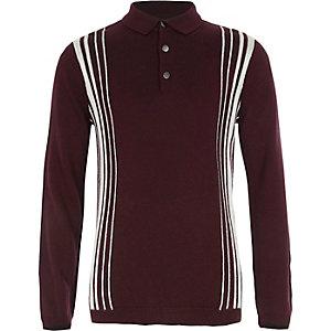 Boys burgundy stripe long sleeve polo shirt