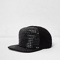Boys black stud embellished flat peak cap