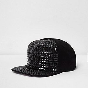 Boys black stud embellished flat peak cap