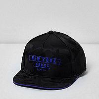 Boys black camo 'New York' flat peak cap