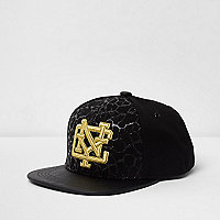 Boys black 'NYC' embroidered flat peak cap