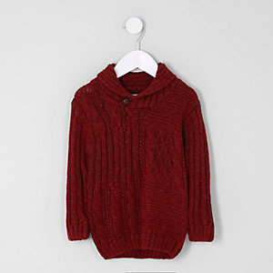 Mini boys red shawl neck cable knit sweater