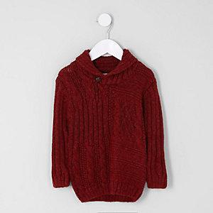 Mini - Rode kabeltrui met sjaalkraag voor jongens