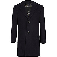 Boys navy tailored overcoat