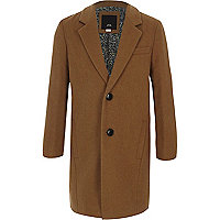 Boys camel tailored overcoat