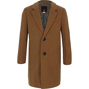 Camelkleurige tailored overjas voor jongens