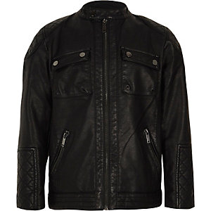 Boys black faux leather racer jacket