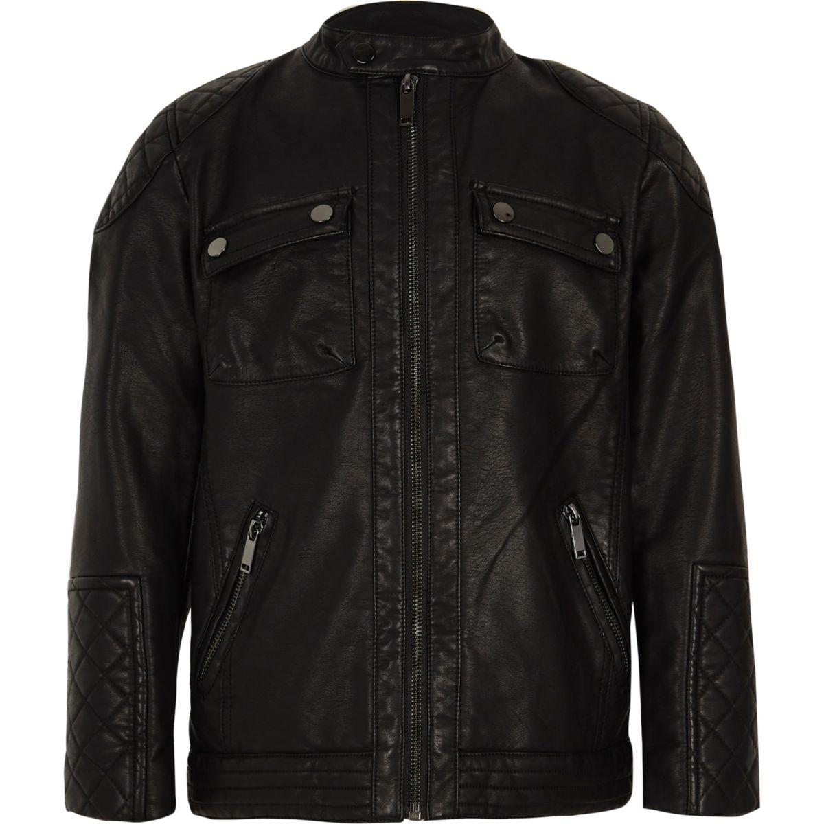 Boys black faux leather racer jacket