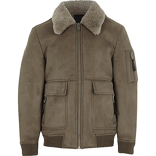 Boys stone faux suede shearling collar jacket