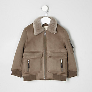 Mini boys stone faux suede shearling jacket