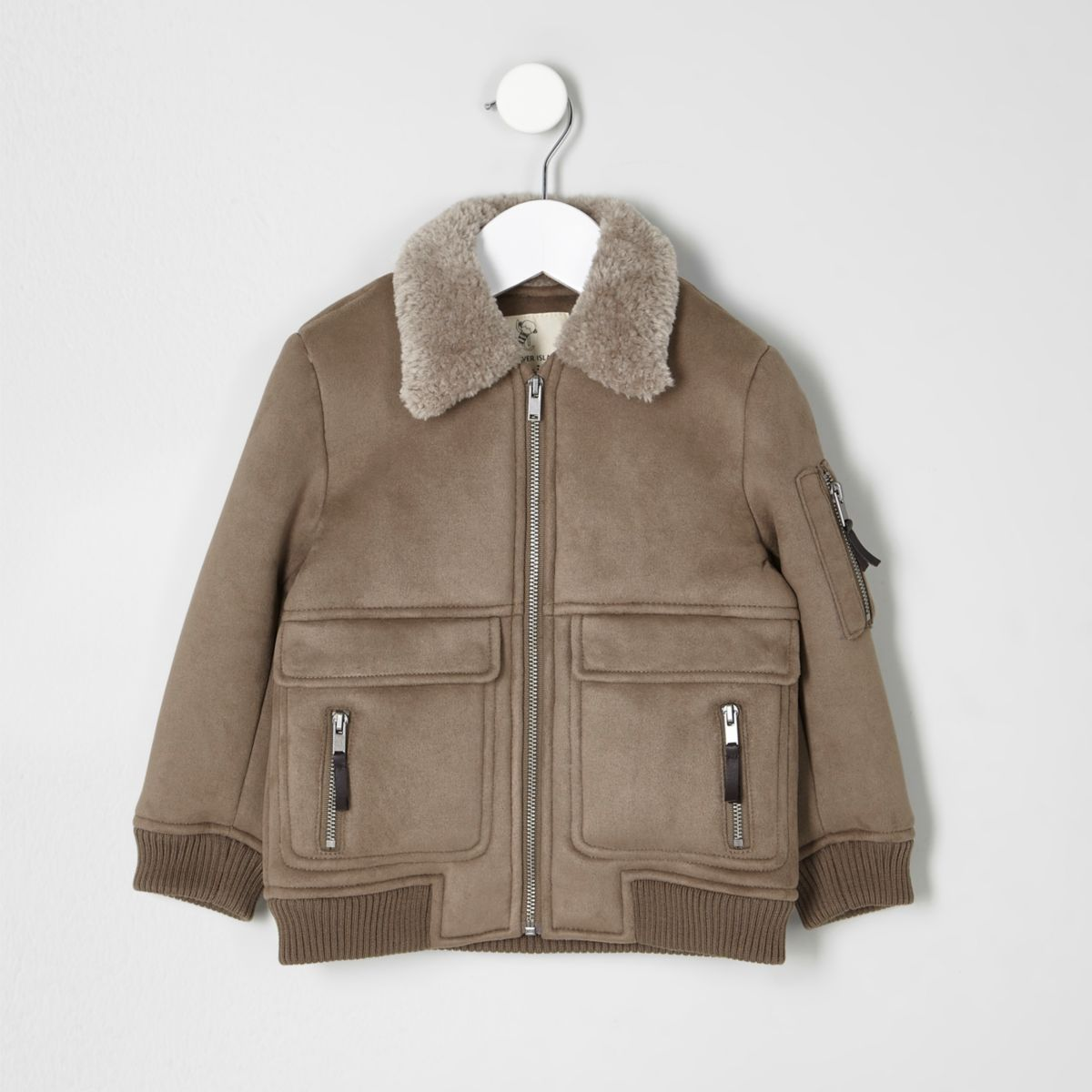 Mini boys stone faux suede shearling jacket - Baby Boys Coats ...